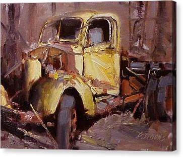 Old Yellow Truck Canvas Print by David Simons