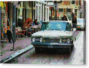Oldsmobile In Amsterdam Canvas Print by Mick Flynn