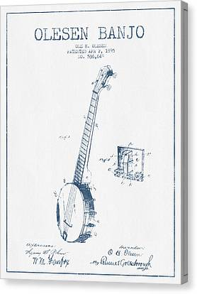 Olesen Banjo Patent Drawing From 1895 - Blue Ink Canvas Print by Aged Pixel