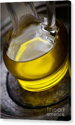 Olive Oil And Basil Canvas Print by Mythja  Photography