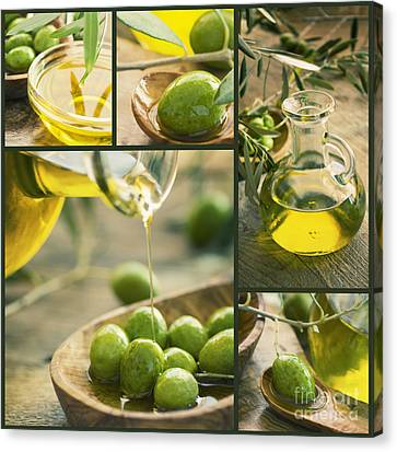 Olive Oil Collage Canvas Print by Mythja  Photography