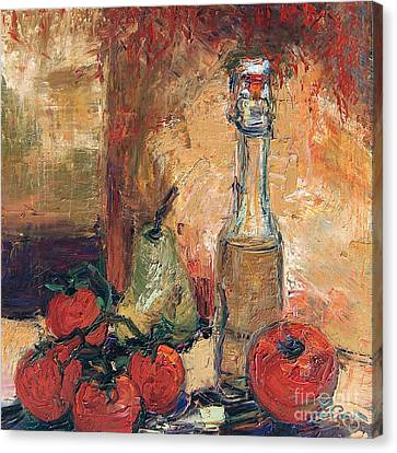 Olive Oil Tomato And Pear Still Life Canvas Print