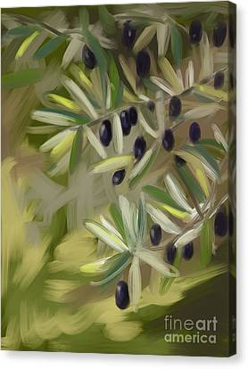 Canvas Print featuring the painting Olive Tree by Go Van Kampen