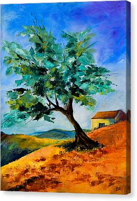 Olive Tree On The Hill Canvas Print by Elise Palmigiani