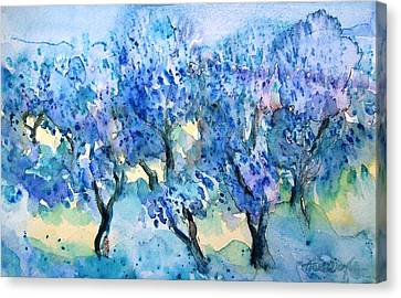 Olive Trees In A Tuscan Garden  Canvas Print by Trudi Doyle