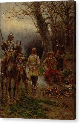 Oliver Cromwell Questioning A Prisoner Canvas Print by Ernest Crofts