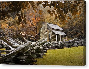 Oliver's Log Cabin During Fall In The Great Smoky Mountains Canvas Print by Randall Nyhof