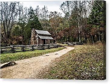 Canvas Print featuring the photograph Oliver's Log Cabin by Debbie Green