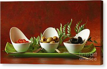 Olives And Salsa Delight Canvas Print by Inspired Nature Photography Fine Art Photography