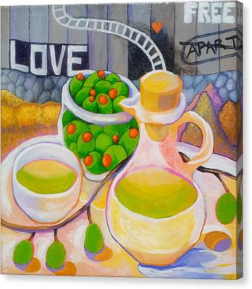 Olives Behind A Wall Canvas Print by Corey Habbas