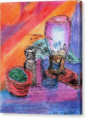 Olives Salt Beer Canvas Print