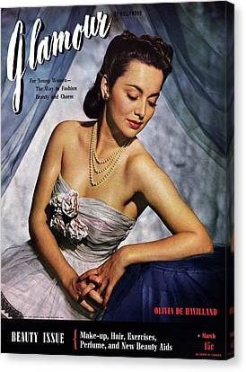 Strapless Dress Canvas Print - Olivia De Havilland On The Cover Of Glamour by Scotty Welbourne