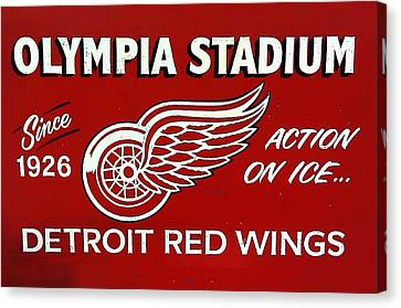 Olympia Stadium - Detroit Red Wings Sign Canvas Print by Bill Cannon