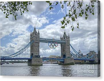 Olympic Rings On Tower Bridge Canvas Print