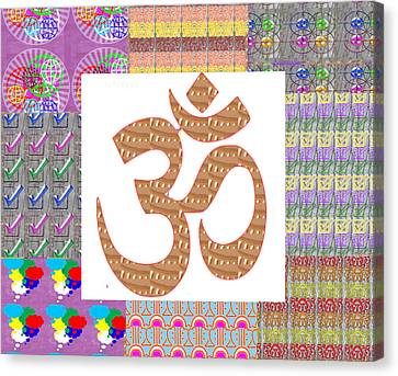 Om Manta Gold N Graphic Art Patchup Background Canvas Print by Navin Joshi