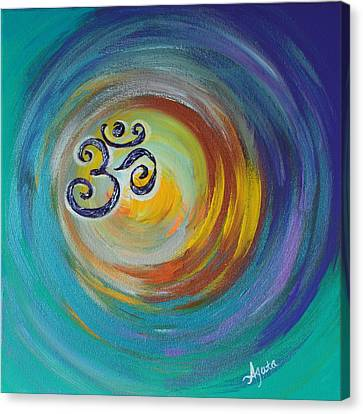 Canvas Print featuring the painting Om Vortex by Agata Lindquist