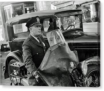 Omaha Nebraska Motorcycle Cop 1938 Canvas Print by Mountain Dreams
