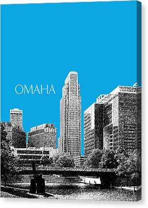 Omaha Skyline - Ice Blue Canvas Print by DB Artist