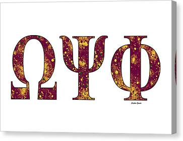 Omega Psi Phi - White Canvas Print by Stephen Younts