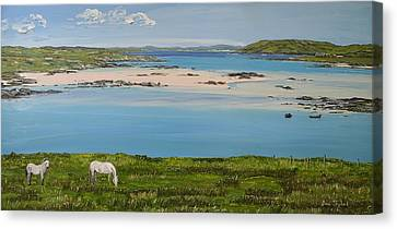 Omey Strand To Omey Island Cladaghduff Connemara Ireland Canvas Print