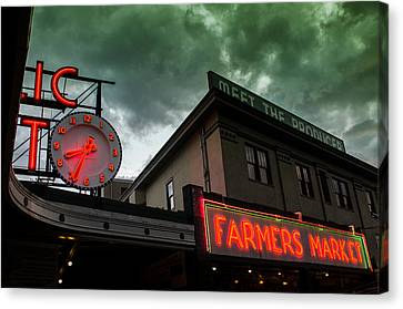 Ominous Scene At The Market Canvas Print by Brian Xavier
