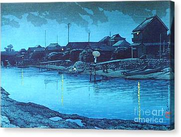 Omori Beach At Night Canvas Print by Pg Reproductions