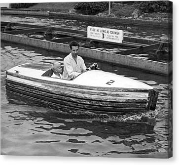 Bonding Canvas Print - On A Boat Ride At Playland by Underwood Archives