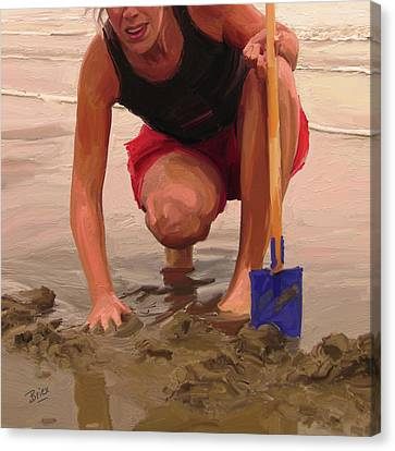 Canvas Print featuring the painting On A Dutch Beach by Nop Briex