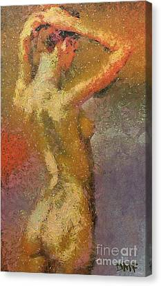Nudes Canvas Print - On A Hot Summer Day by Dragica  Micki Fortuna