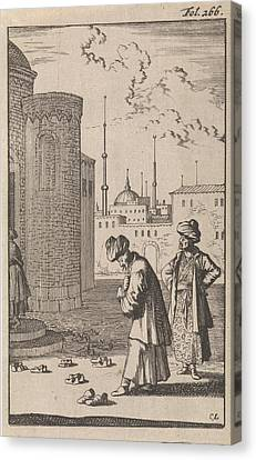 Tying Shoe Canvas Print - On A Square Two Turks Are Walking Towards A Mosque Where by Caspar Luyken And Timotheus Ten Hoorn