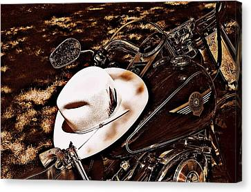 On A Steel Horse Canvas Print