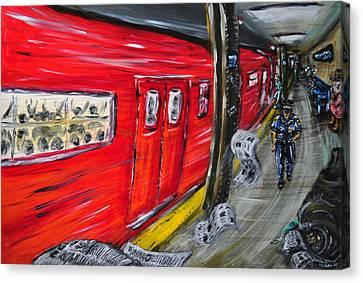 On A Subway Platform Canvas Print by Ka-Son Reeves