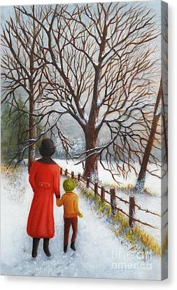 On A Wintry Walk With Gran Canvas Print