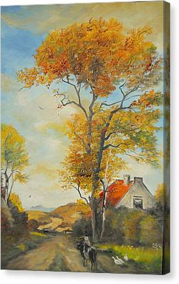Canvas Print featuring the painting On Country Road  by Sorin Apostolescu
