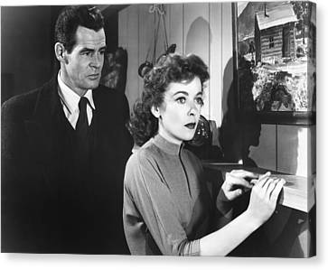 1950s Movies Canvas Print - On Dangerous Ground, From Left Robert by Everett