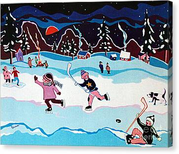 On Frozen Pond Canvas Print by Joyce Gebauer