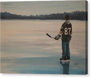 Hockey Canvas Print - On Frozen Pond - The Kid by Ron  Genest