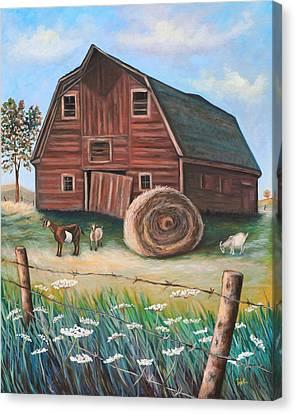 On Golden Farm Canvas Print by Eve  Wheeler