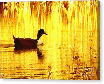 Canvas Print featuring the digital art On Golden Pond by Cristophers Dream Artistry