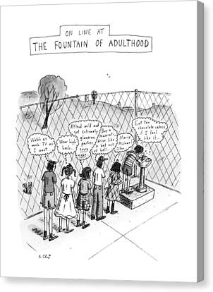 On Line At The Fountain Of Adulthood: Watch Canvas Print by Roz Chast