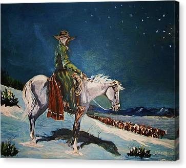 Canvas Print featuring the painting On Night Herd In Winter by Al Brown