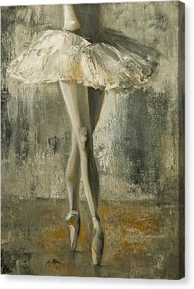 Tying Shoe Canvas Print - En Pointe by Jani Freimann