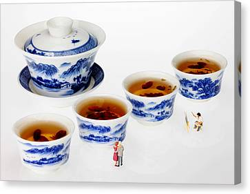 On Porcelain Ink Painting Exhibition Little People On Food Canvas Print by Paul Ge