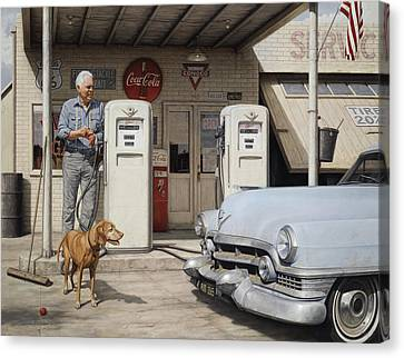 On Route 66 Canvas Print by Ron Crabb