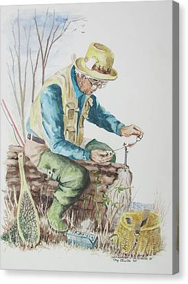 Canvas Print featuring the painting On Stream by Tony Caviston