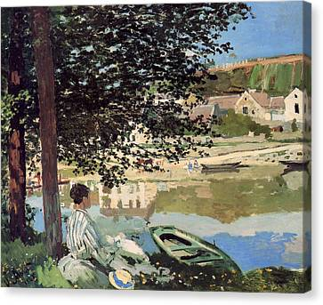 On The Bank Of The Seine Canvas Print by Claude Monet