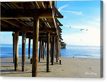 Canvas Print featuring the photograph On The Beach In Capitola by Alex King