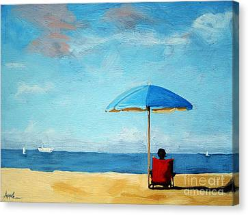 On The Beach - Special Time Canvas Print by Linda Apple