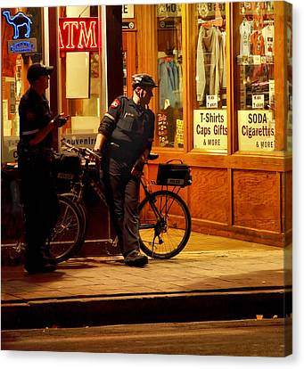 Police Officer Canvas Print - On The Beat by Linda Unger