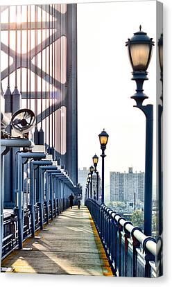 On The Ben Franklin Bridge Canvas Print by Bill Cannon